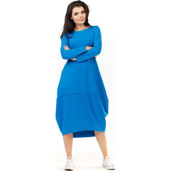 11a7ce239c Niebieska Dzianinowa Midi Sukienka Bombka z Długim Rękawem ...