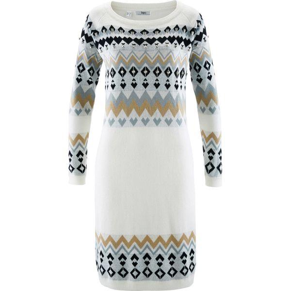 33b3047b2d Sukienka dzianinowa bonprix biel wełny wzorzysty - Sukienki damskie ...