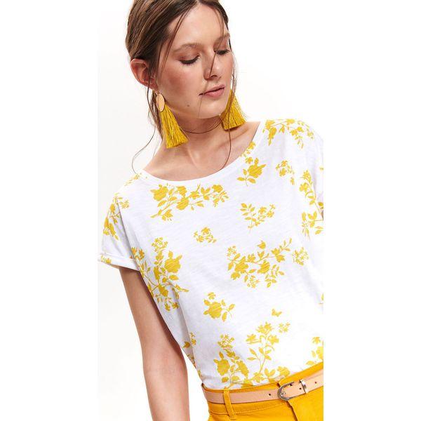 b56ecad9851cda LUŹNY T-SHIRT W KWIATY - Białe t-shirty damskie marki TOP SECRET ...