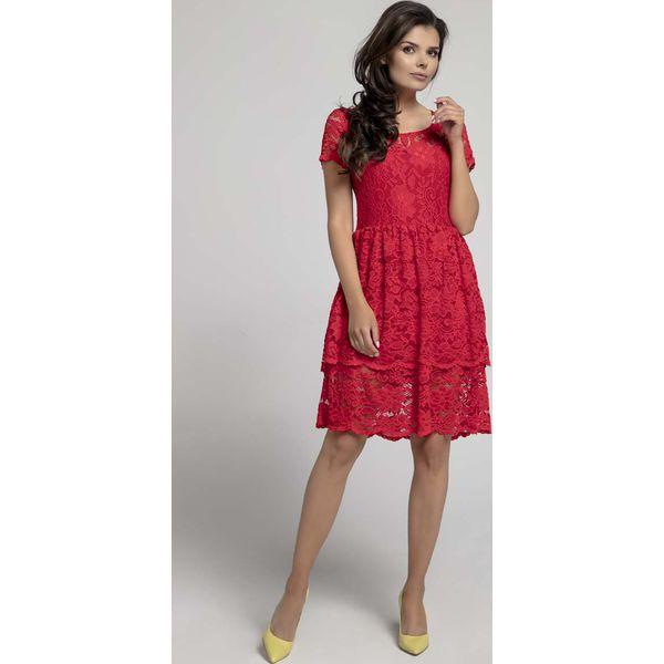 0285b4846f Czerwona Elegancka Sukienka Koronkowa z Falbanką - Czerwone sukienki ...