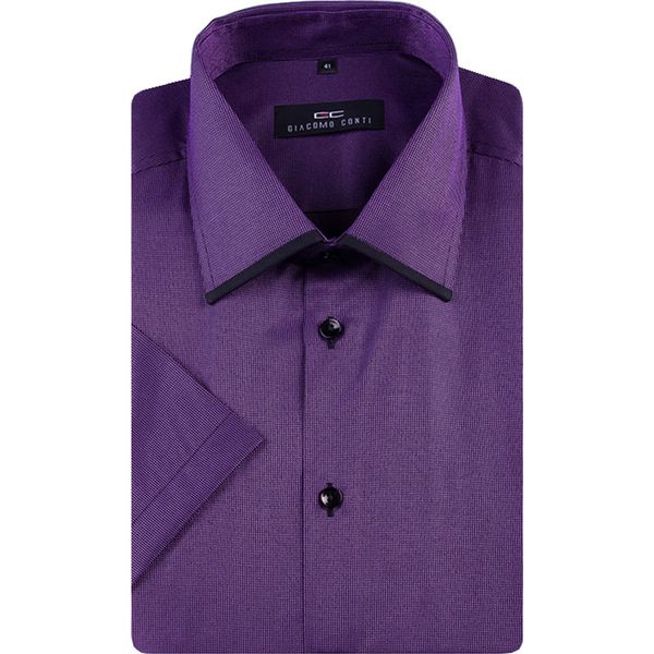 ef137840ff2698 Koszula MARTINO KR slim 13-05-08 - Czarne koszule męskie marki Giacomo  Conti, m, z bawełny, z klasycznym kołnierzykiem, z krótkim rękawem. Za  129.00 zł.
