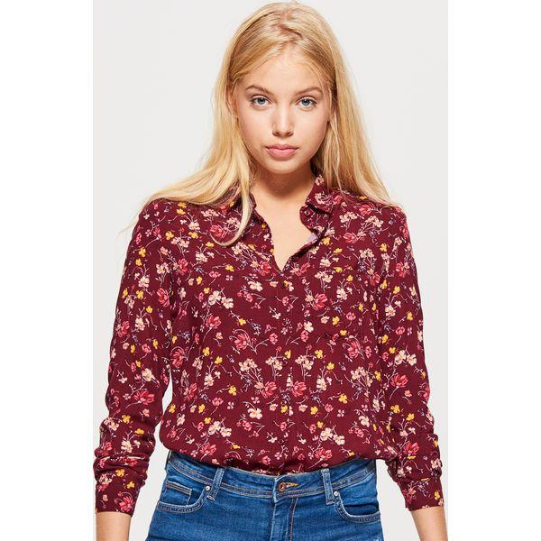48e1a9f06ddf Klasyczna koszula z nadrukiem - Bordowy - Koszule damskie marki ...
