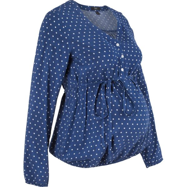 3f3e9404bc6e Bluzka ciążowa bonprix kobaltowo-biały w kropki - Niebieskie bluzki ...