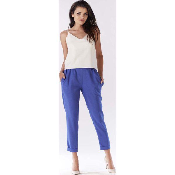 272d9e79032ac1 Niebieskie Eleganckie Spodnie 7/8 z Mankietem - Niebieskie spodnie ...