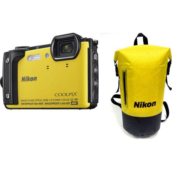 bb639ebc27f77 Aparat cyfrowy Nikon Coolpix W300 Żółty Holiday Kit z plecakiem ...