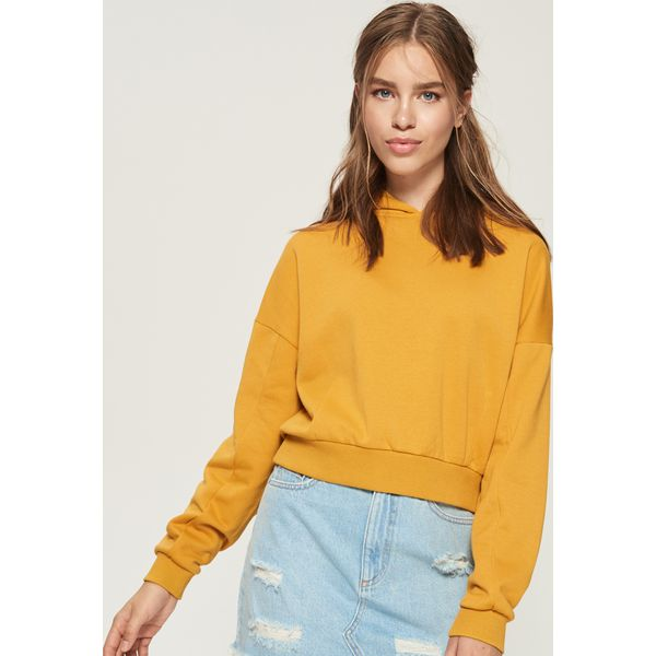 d97eb443fe Krótka bluza z kapturem - Żółty - Żółte bluzy damskie marki Sinsay ...